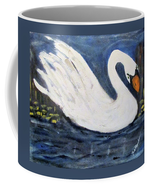 Animals Swan Wildlife Coffee Mug featuring the painting Serenity Swan by Linda Fitzgerald