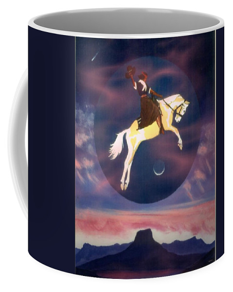 Cowgirl Coffee Mug featuring the painting Series Buffalo Girls Over Abiquiu I by Anastasia Savage Ealy