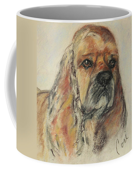 Dog Coffee Mug featuring the drawing Serious Intent by Cori Solomon