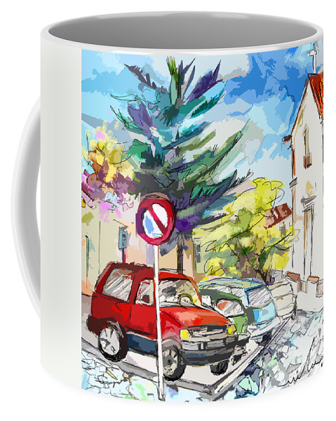 Painting Of Serpa Alentajo Portugal Travel Sketch Coffee Mug featuring the painting Serpa Portugal 02 Bis by Miki De Goodaboom