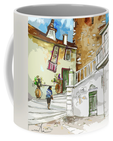 Painting Of Serpa Alentajo Portugal Travel Sketch Coffee Mug featuring the painting Serpa Portugal 03 Bis by Miki De Goodaboom