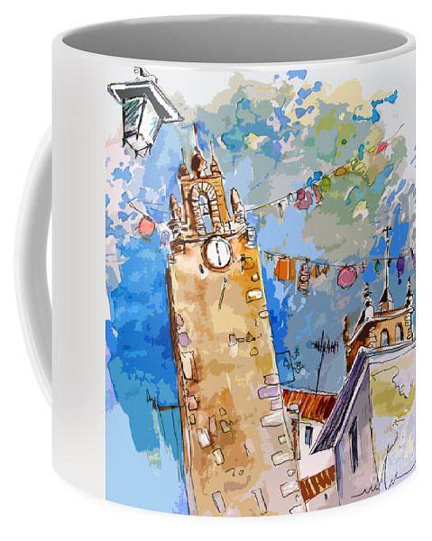 Painting Of Serpa Alentajo Portugal Travel Sketch Coffee Mug featuring the painting Serpa Portugal 08 Bis by Miki De Goodaboom