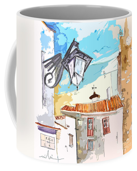 Painting Of Serpa Alentajo Portugal Travel Sketch Coffee Mug featuring the painting Serpa Portugal 09 Bis by Miki De Goodaboom