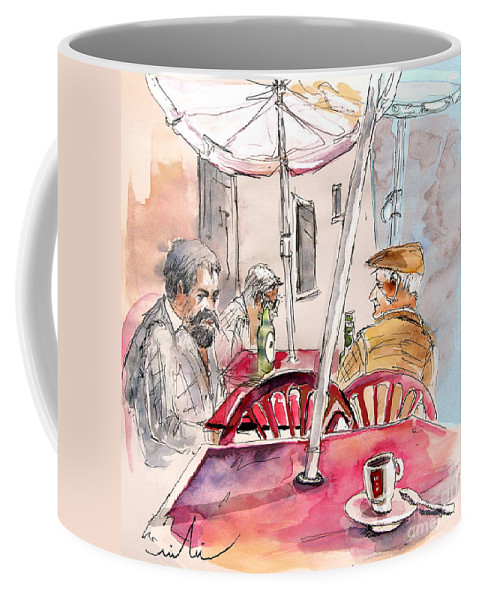 Water Colour Aquarelle Drawings Caricatures From People In Serpa Portugal By Miki Coffee Mug featuring the painting Serpa Portugal 32 by Miki De Goodaboom