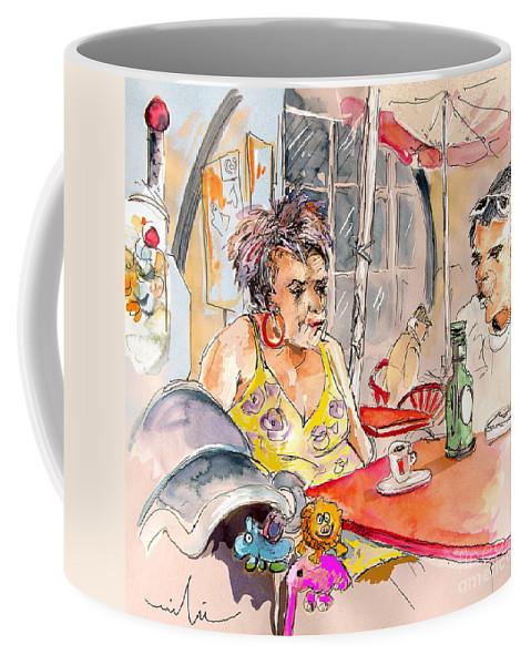 Water Colour Aquarelle Drawings Caricatures From People In Serpa Portugal By Miki Coffee Mug featuring the painting Serpa Portugal 34 by Miki De Goodaboom