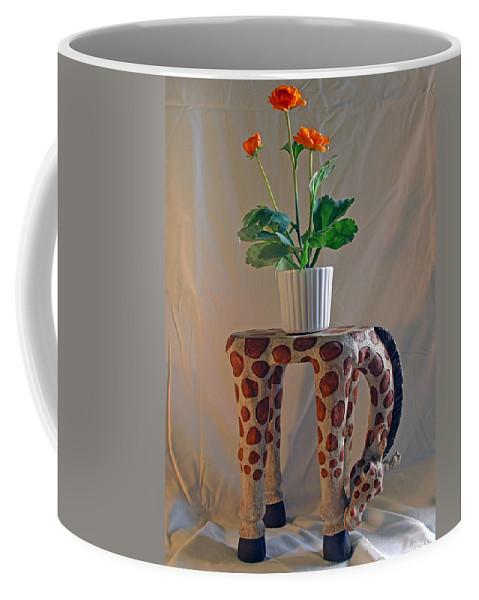 Giraffe; Burden; Flower; Pot; Orange; Artificial; Animal; Stuffed; Ceramic; Statue; Figurine; Figure Coffee Mug featuring the photograph Servant Giraffe by Allan Hughes