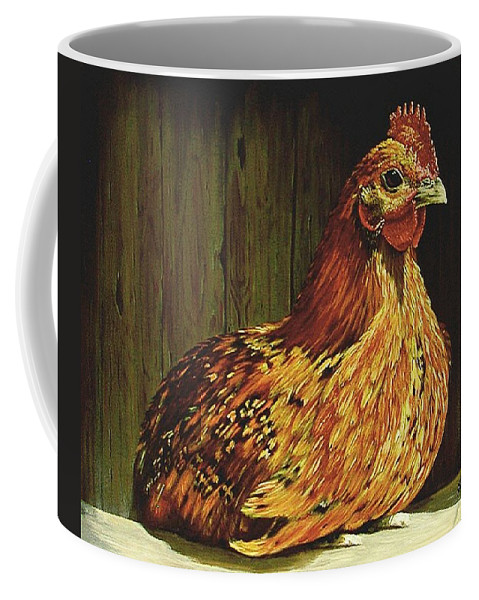 Acrylic Coffee Mug featuring the painting Setting Hen by Sheryl Gallant