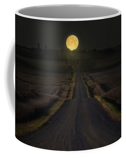 Moonset Coffee Mug featuring the photograph Setting Supermoon by Aaron J Groen