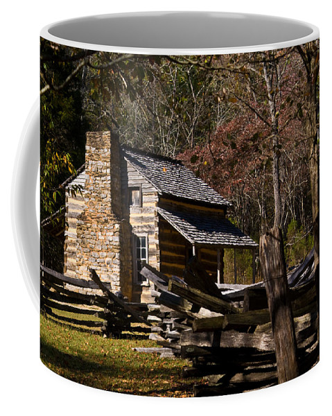 Settlers Coffee Mug featuring the photograph Settlers Cabin Cades Cove by Douglas Barnett