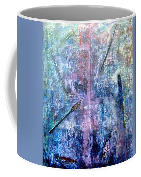 Abstract Coffee Mug featuring the painting Seven Zippers by Nancy Mueller