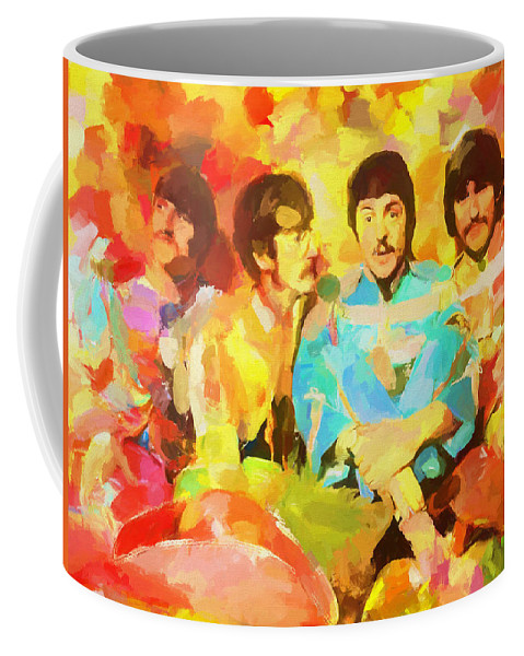 Sgt. Peppers Lonely Hearts Coffee Mug featuring the painting Sgt. Peppers Lonely Hearts by Dan Sproul
