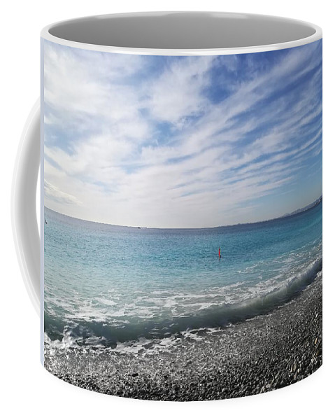 Nice Beach Pebbles Sea Coffee Mug featuring the photograph Shades Of Blue by Stephane Marguet