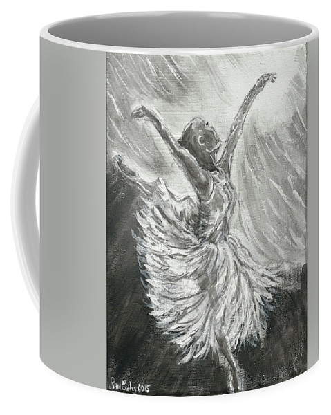 Woman Ballet Ballerina Dancer Black And White Light Graceful Sports Active Dance Coffee Mug featuring the painting Shadow Dancer by Sara Copley