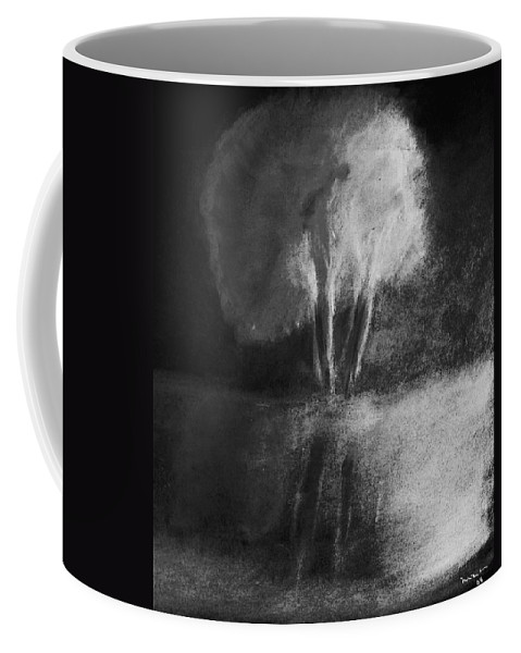 Tree Coffee Mug featuring the pastel Shadow Of A Tree by Melvin Moon