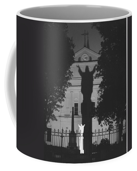 Structure Coffee Mug featuring the photograph Shadow Of Jesus by Michelle Powell