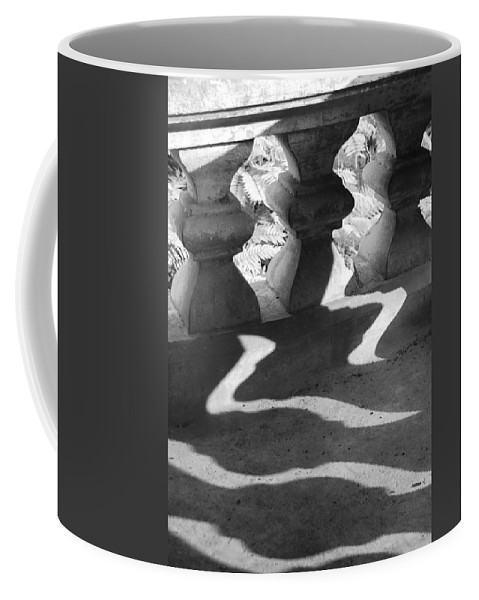 Abstract Coffee Mug featuring the photograph Shadow Of Railing by Hitendra SINKAR