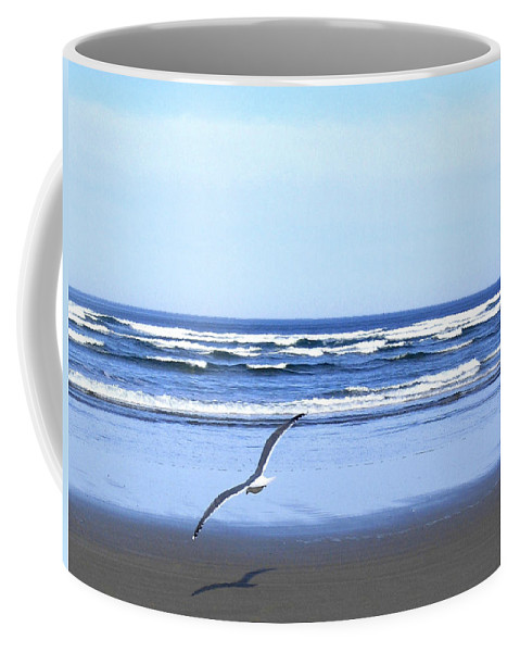 Seagull Coffee Mug featuring the photograph Shadow On The Sand by Will Borden