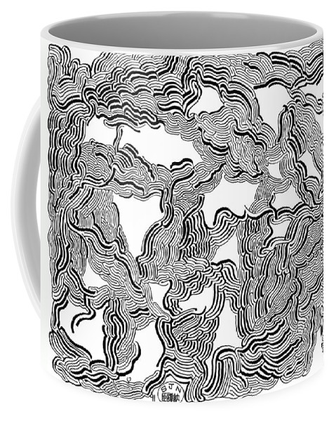 Mazes Coffee Mug featuring the drawing Shadow Vision 1 by Steven Natanson