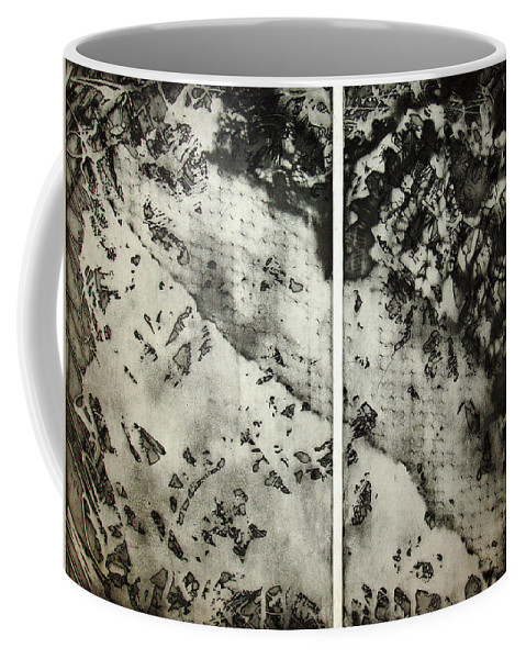 Etching Coffee Mug featuring the drawing Shadows And Lace by Nancy Mueller