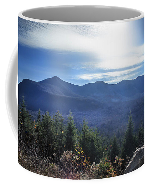 Scene Coffee Mug featuring the photograph Shadows Of The Majestic , White Mountains by Debra Forand