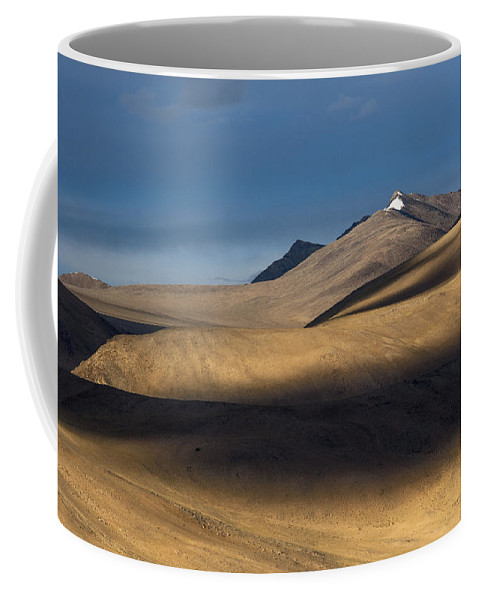 Abstract Coffee Mug featuring the photograph Shadows On Hills by Hitendra SINKAR