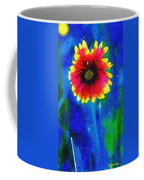 Abstract Coffee Mug featuring the painting Shaggy Moon For A Shaggy Flower by RC DeWinter