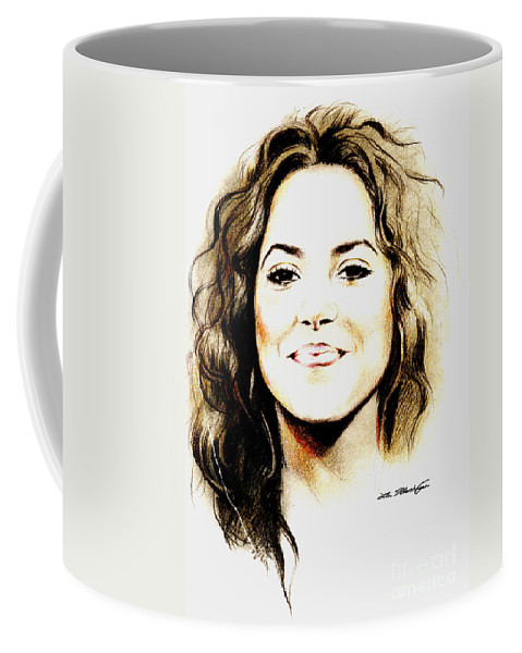 Shakira Coffee Mug featuring the drawing Shakira by Lin Petershagen