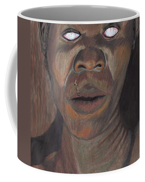 Shaman Coffee Mug featuring the drawing Shaman In A Trance by Jean Haynes