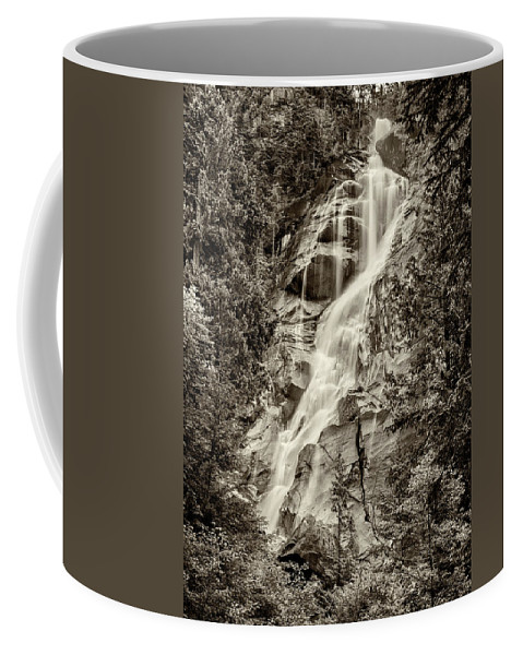 Shannon Falls Coffee Mug featuring the photograph Shannon Falls - Bw by Stephen Stookey