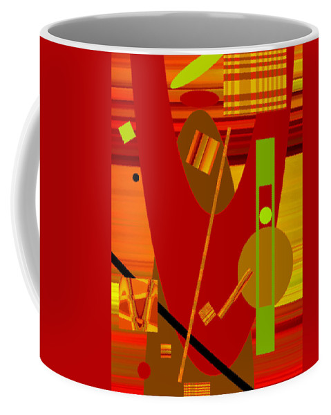 Abstract Coffee Mug featuring the digital art Shapes And Patterns In Red by Ruth Palmer