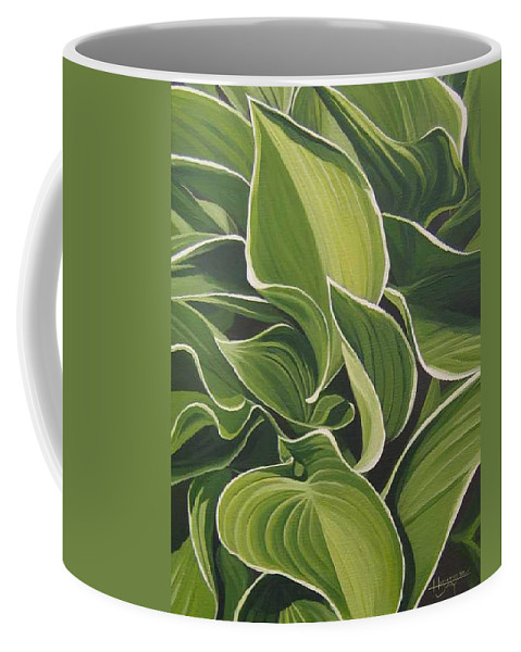 Closeup Of Hosta Plant Coffee Mug featuring the painting Shapes That Go Together by Hunter Jay