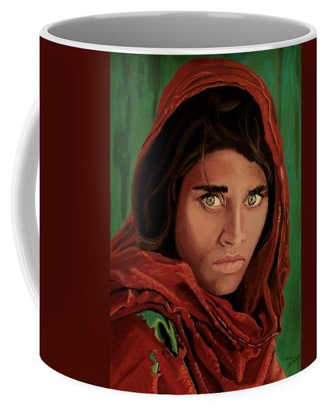 Afghan Girl Coffee Mug featuring the painting Sharbat Gula From Nat Geo Mccurry 1985 by D Turner