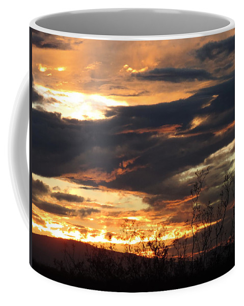 Sunset Coffee Mug featuring the photograph Shark In The Sky by Enaid Silverwolf