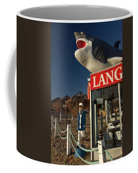 Shark Coffee Mug featuring the photograph Shark On Top Of A Restaurant by Sven Brogren