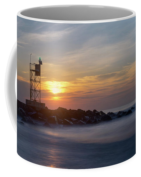 New Jersey Coffee Mug featuring the photograph Shark River Inlet Bug Light by Jerry Fornarotto