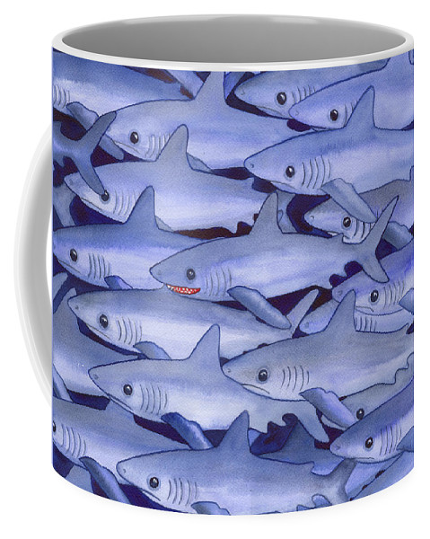 Shark Coffee Mug featuring the painting Sharks by Catherine G McElroy