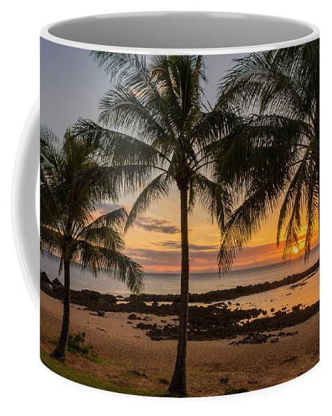 Sharks Cove Palm Tree Sunset Beach North Shore Oahu Hawaii Hi Seascape Coffee Mug featuring the photograph Sharks Cove Sunset 4 - Oahu Hawaii by Brian Harig