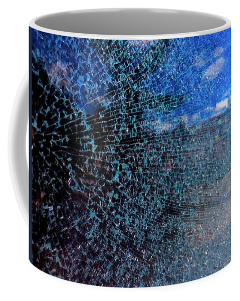 Glass Coffee Mug featuring the photograph Shattered Blue by Julian Grant