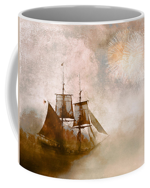 Tall Ships Coffee Mug featuring the photograph She Returns Home by Jeff Burgess