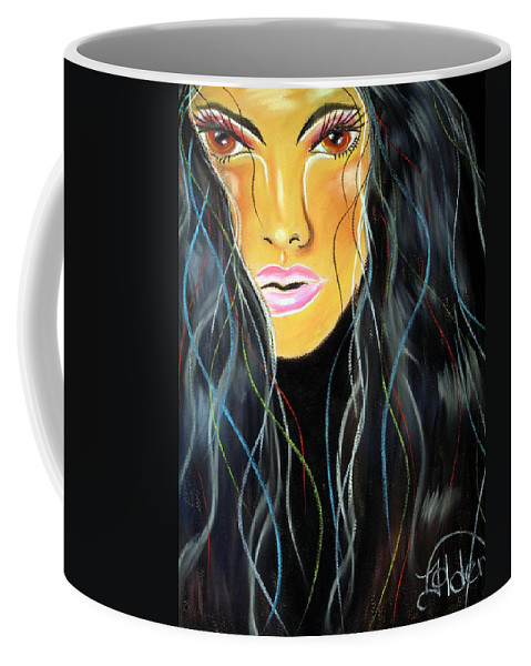 Lady Coffee Mug featuring the pastel She Shines by Jo Hoden