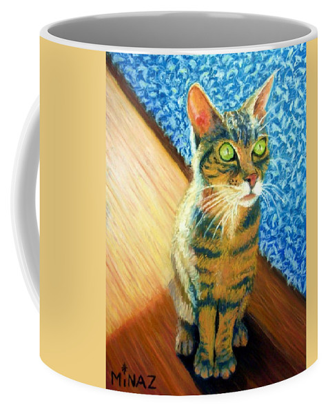 Cat Coffee Mug featuring the painting She Wants To Be Famous by Minaz Jantz