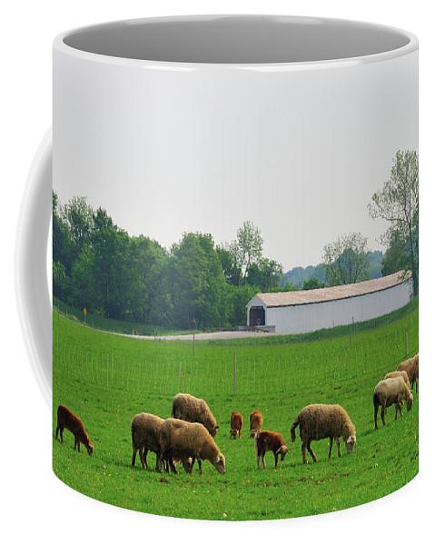 Bridge Coffee Mug featuring the photograph Sheep and Covered Bridge by David Arment