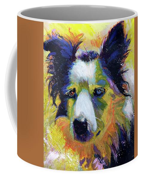 Sheep Coffee Mug featuring the painting Sheep Dog by Steve Gamba