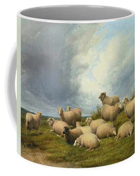 Thomas Sidney Cooper Coffee Mug featuring the painting Sheep In A Pasture by Thomas Sidney Cooper