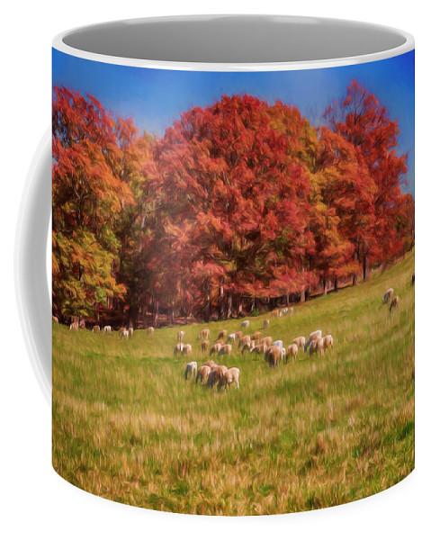 John Haldane Coffee Mug featuring the digital art Sheep In The Autumn Meadow by John Haldane