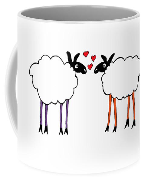 Sheep Coffee Mug featuring the drawing Sheep Love by Sarah Rosedahl