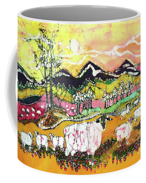 Sheep Coffee Mug featuring the tapestry - textile Sheep On Sunny Summer Day by Carol Law Conklin