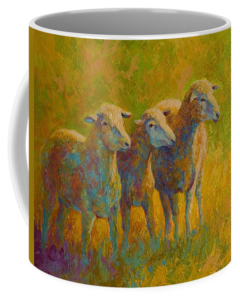 Llama Coffee Mug featuring the painting Sheep Trio by Marion Rose