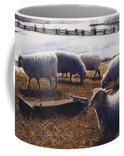 Sheep Coffee Mug featuring the painting Sheepish by Denny Bond