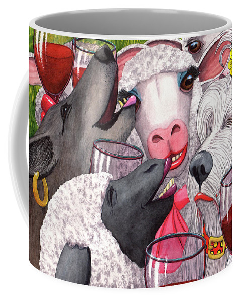Sheep Coffee Mug featuring the painting Sheepishly wining with the bitches. by Catherine G McElroy